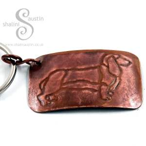Embossed Copper Keyring DACHSHUND
