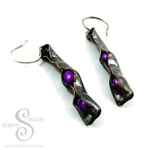 Purple Freshwater Pearls & Copper Earrings