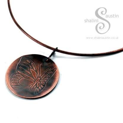 Embossed Copper Pendant FLUTTEREBY