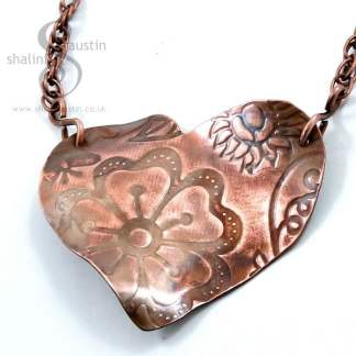 Copper Heart Pendant with Embossed Flowers