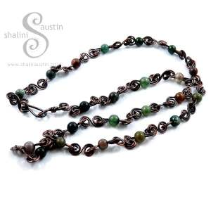 Indian Agate & Copper Chain Necklace