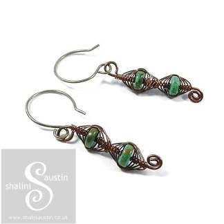 Turquoise Herringbone Weave Earrings