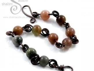 Indian Agate & Copper Wire Bracelet