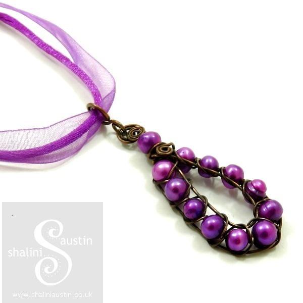 Wire Weave Pearl Pendant PURPLE