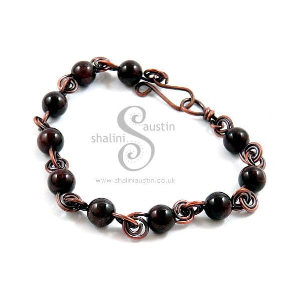 Antique Finish Semi-Precious Gemstone Bracelet with Garnet Beads