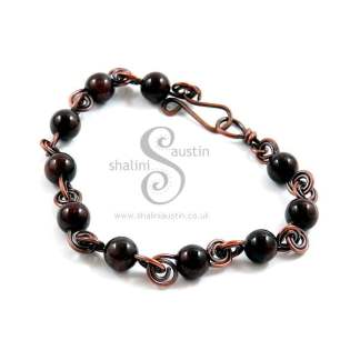 Antique Finish Semi-Precious Gemstone Bracelet with Garnet Beads
