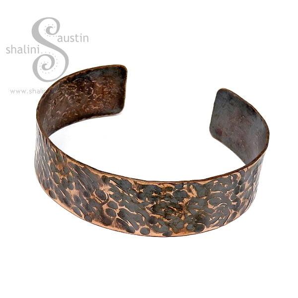 Hammered Rustic Unisex Copper Cuff 03