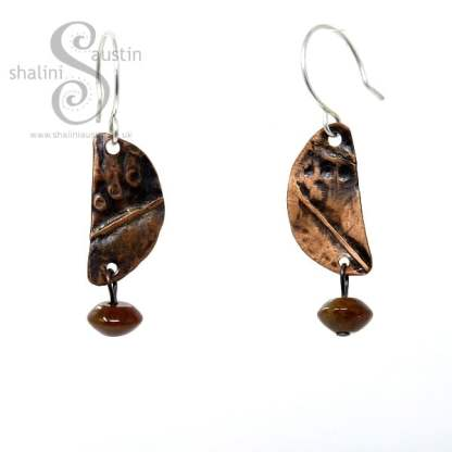 Textured Copper Earrings with Indian Agate