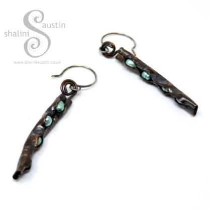 Freshwater Pearls & Copper Earrings LIGHT GREEN