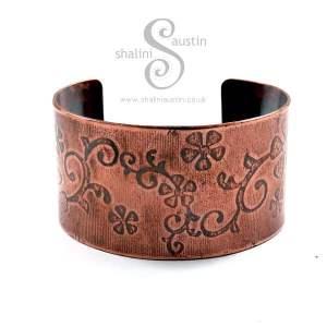 'Flora' Embossed Copper Cuff