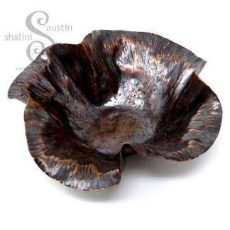 Hand Forged Antique Finish Copper Bowl RUFFLES 3