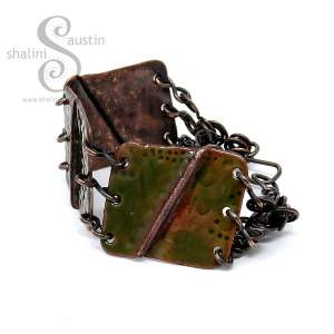 Enamelled Salvaged Copper Bracelet - Olive Green