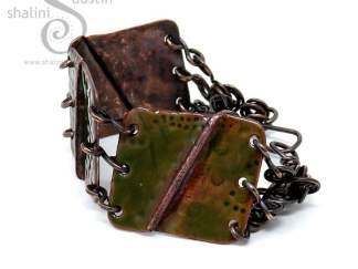 Enamelled Salvaged Copper Bracelet - Olive Green