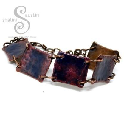 Enamelled Salvaged Copper Bracelet - Persian Blue