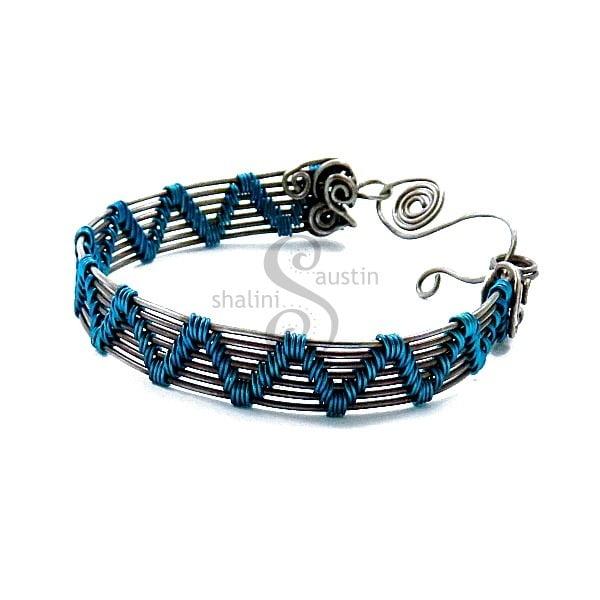 Wire Weave Bracelet 'Sheila' - Turquoise