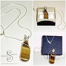 Sterling Silver Tiger Eye Wire Wrap Pendant