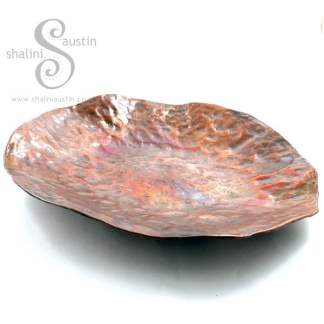 Hammered Round Copper Tray