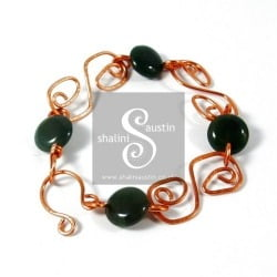 S Link Bracelet with Agate Beads