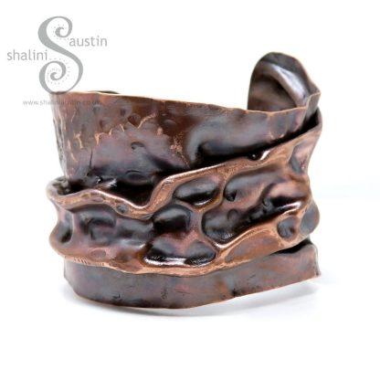 One-Off Unisex Salvaged Copper Cuff LUNAR