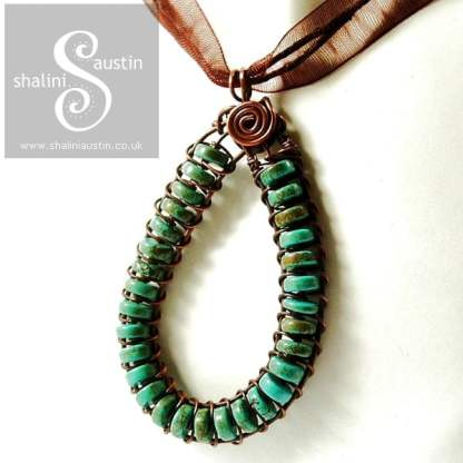 Turquoise Wire Weave Pendant: Made to Order