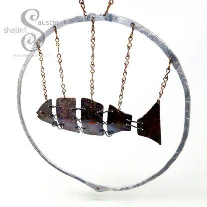 Antique finish Fish In Aluminium Ring