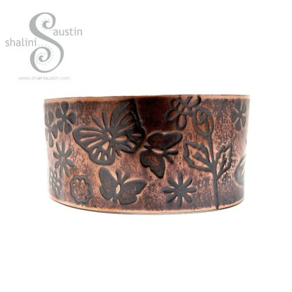 'Flutterby Meadow' Embossed Copper Cuff