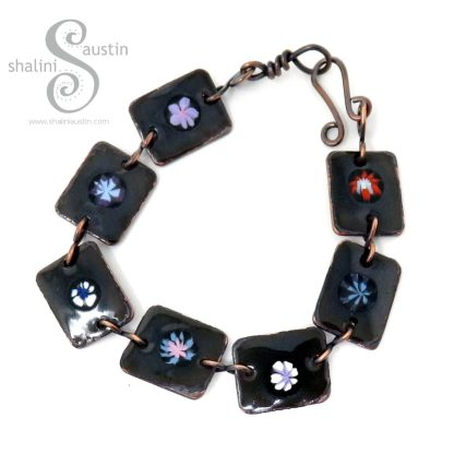 Dark Green Enamelled Copper Bracelet with Flowers