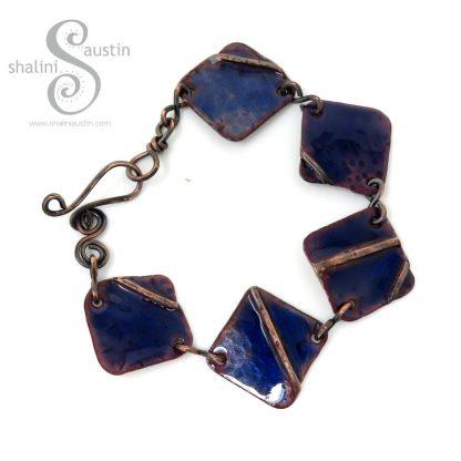 Enamelled Fold-Formed Copper Bracelet - Blue
