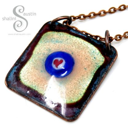 Enamelled Copper Tile Pendant with Heart Detail