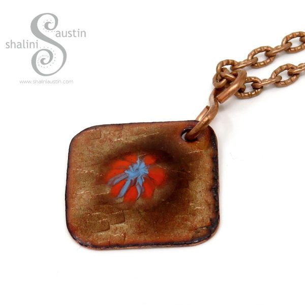 Dainty Square Copper Pendant Gold and Orange