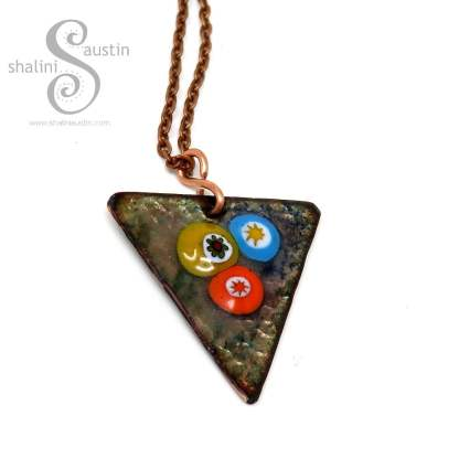 Enamelled Copper Triangle Pendant