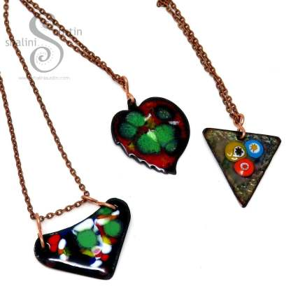 Enamelled copper pendants