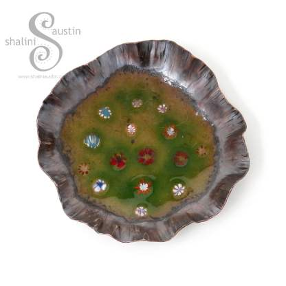 Enamelled Copper Trinket Tray (03)