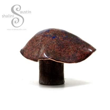 Decorative Copper Mushroom (05) - Brown and Blue