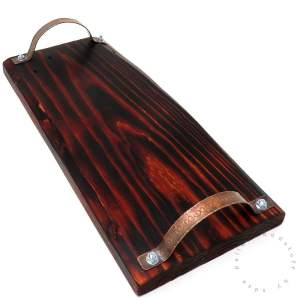 Pallet Wood Tray BURNT ORANGE (03) with Copper Handles