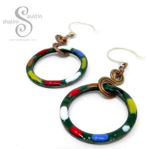 TUTTI FRUTTI Copper Circle Earrings - Forest Green
