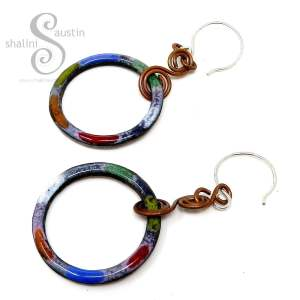Colourful Enamelled Copper Circle Earrings