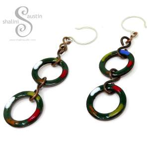 Forest Green Copper Circle Earrings TUTTI FRUTTI