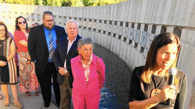 Illinois Holocaust Museum & Education Center CEO Susan Abrams speaks about non-Jews who saved Jewish lives in peril at a ceremony Sept. 1 at the museum's Fountain of the Righteous. (Mike Isaacs / Pioneer Press)