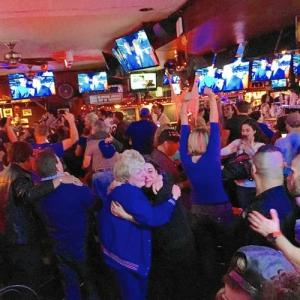 Emotions ran high when the Cubs won their first World Series championship since 1908 in an epic game seen by a packed house at the Village Inn in Skokie. (Mike Isaacs / Pioneer Press)