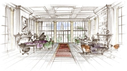 architectural pencils sketch interior colored hotel rendering lobby renderings barclay drawing sketches restaurant concept york architecture exterior bar renovation artist