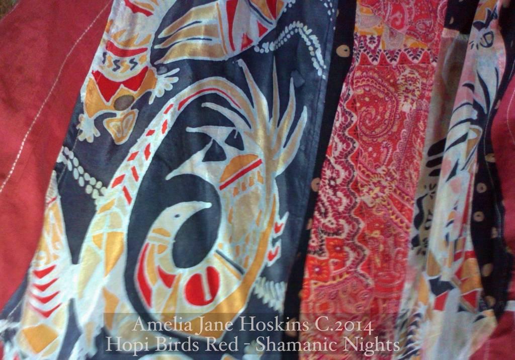 Red linen Hopi dress silk painting black side