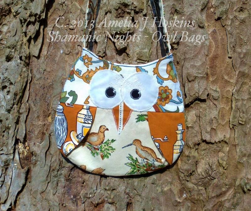 Owl bag orange cream blue bird tum