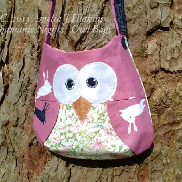 Owl bag pink rabits floral tum