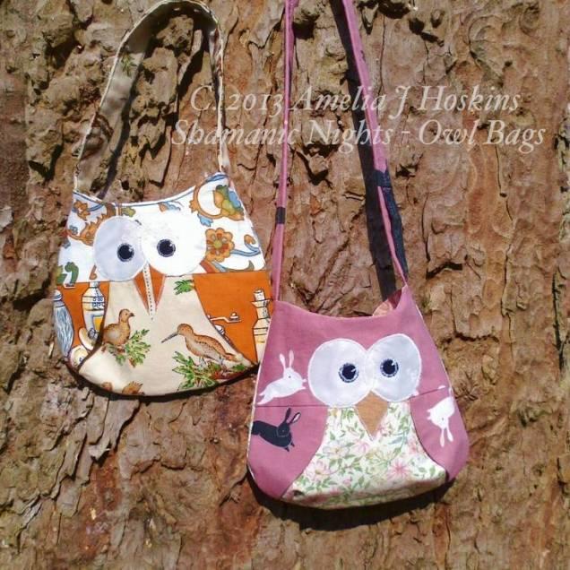 Owl bags 2 orange cream pink with rabits