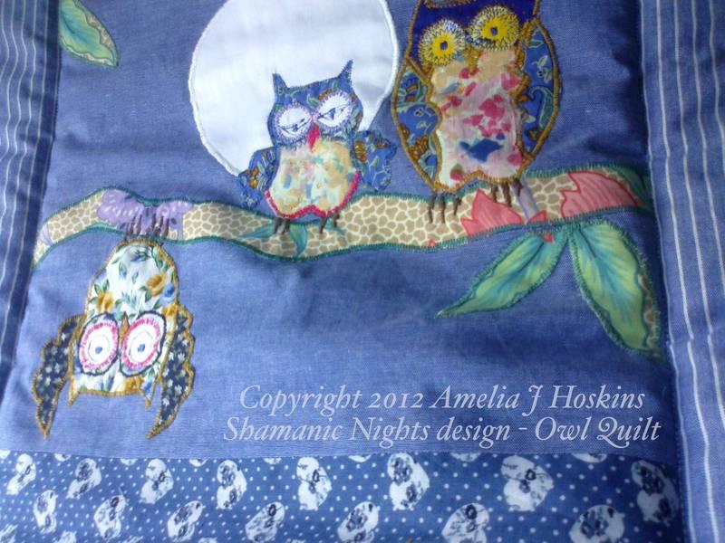 Owl quilt 2 moon upside down owl left