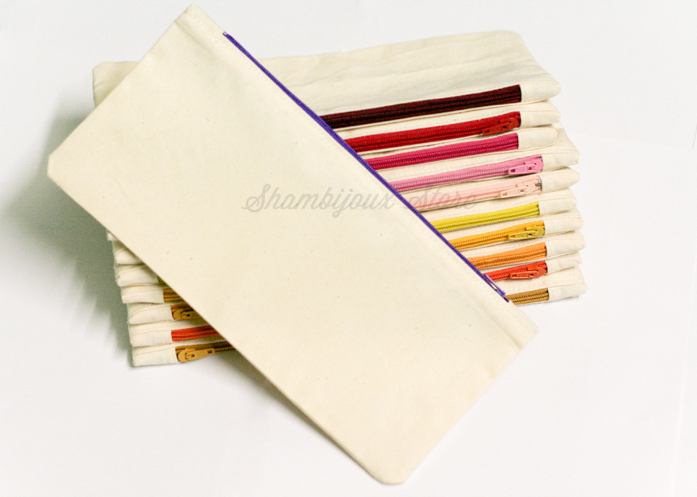 "Plain Pencil Case x Canvas (9"" x 4"") *made to order*"
