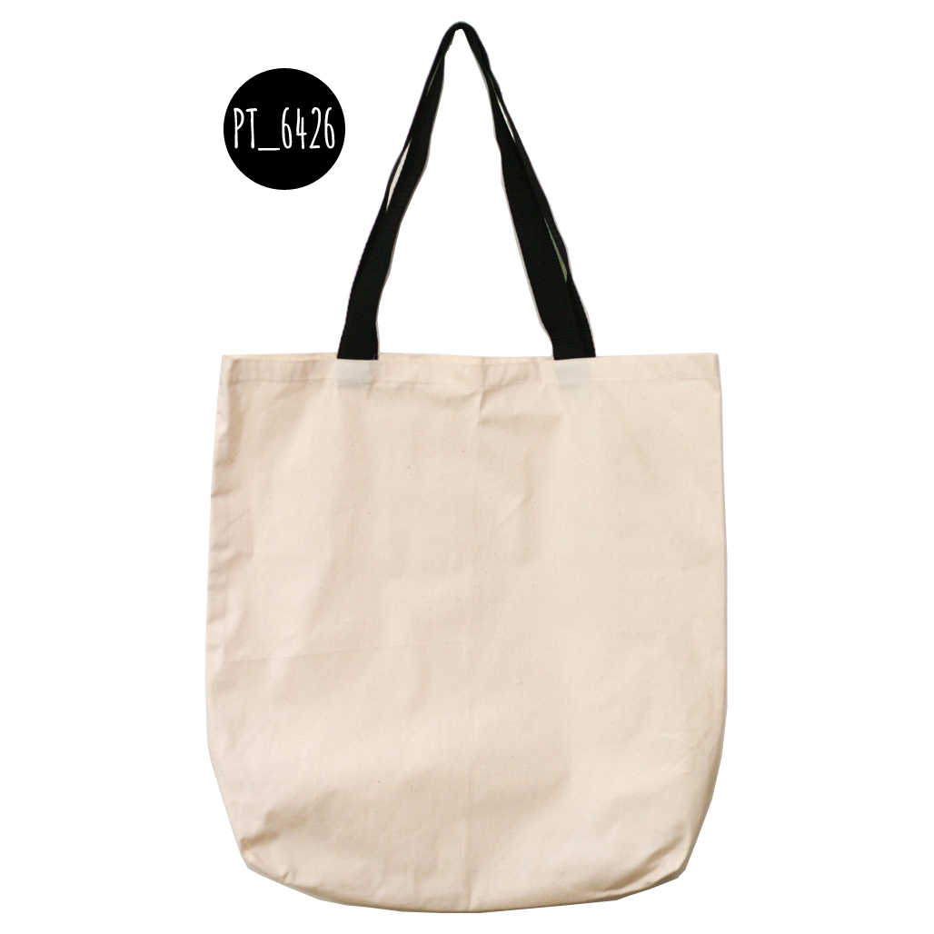 Plain Tote Bag with Black Strap - Canvas (ready stock)