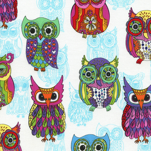 (Timeless Treasures) Funky Owls, Funky Owls in White