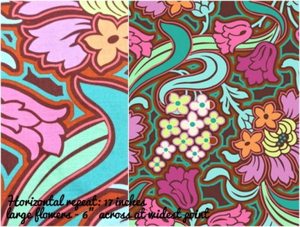 (Amy Butler) Soul Blossoms, Disco Flower in Chocolate